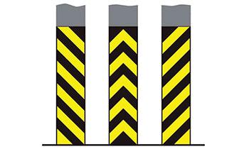 Желтая вертикальная разметка на парковках